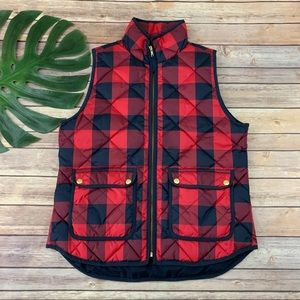 J.Crew red check down fill Excursion puffer vest